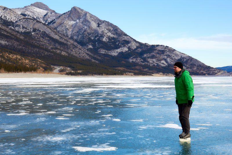 Steve Skating on Abraham Lake
