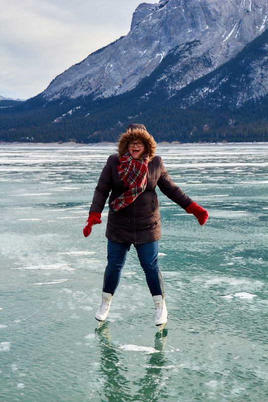 Skating on Abraham Lake